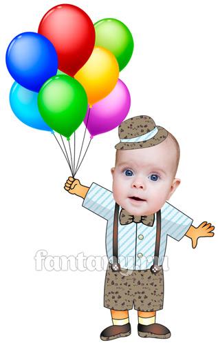 Коллаж Мальчик на шариках