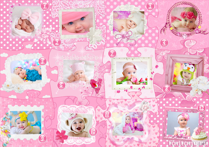 Плакат для девочки на первый день рождения с фото